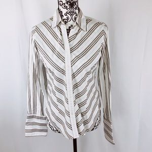 Burberry Striped French Cuff Button Down Top